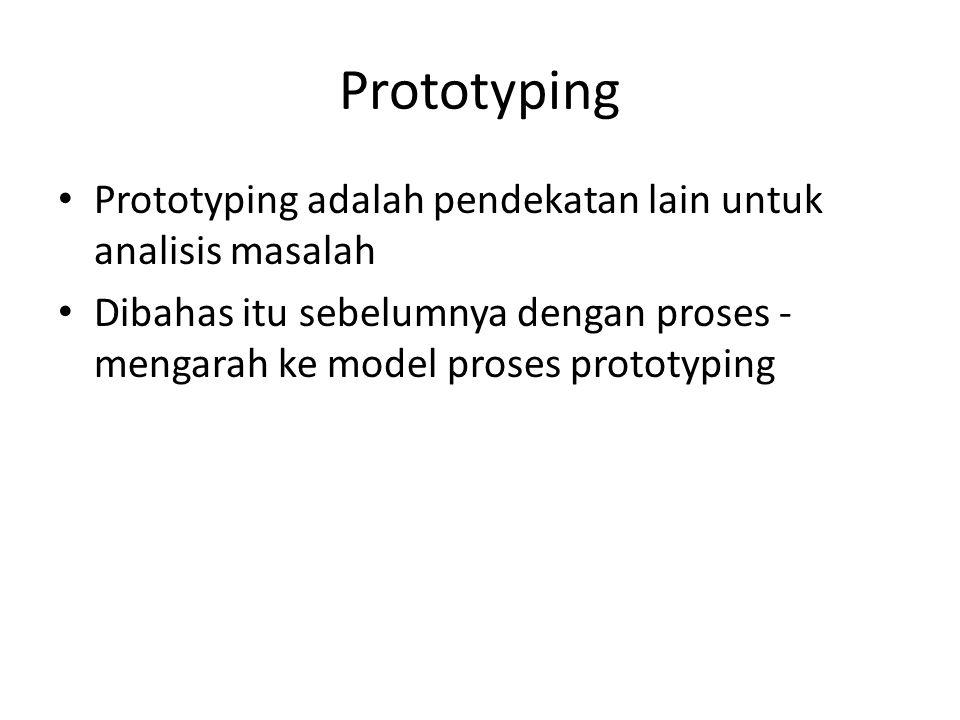 Prototyping Prototyping adalah pendekatan lain untuk analisis masalah