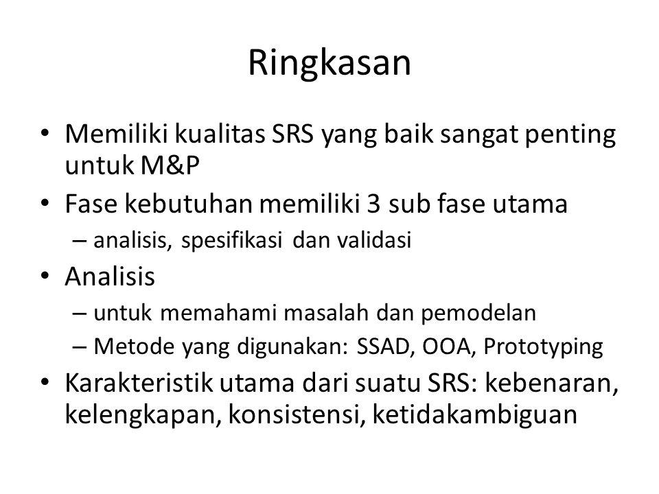Ringkasan Memiliki kualitas SRS yang baik sangat penting untuk M&P
