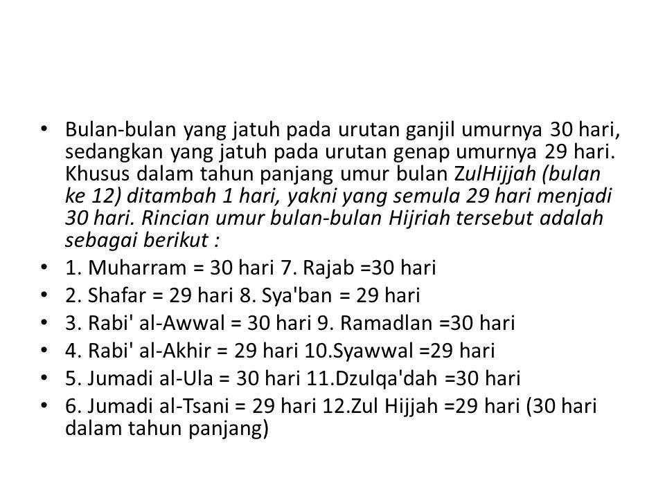 Bulan-bulan yang jatuh pada urutan ganjil umurnya 30 hari, sedangkan yang jatuh pada urutan genap umurnya 29 hari. Khusus dalam tahun panjang umur bulan ZulHijjah (bulan ke 12) ditambah 1 hari, yakni yang semula 29 hari menjadi 30 hari. Rincian umur bulan-bulan Hijriah tersebut adalah sebagai berikut :