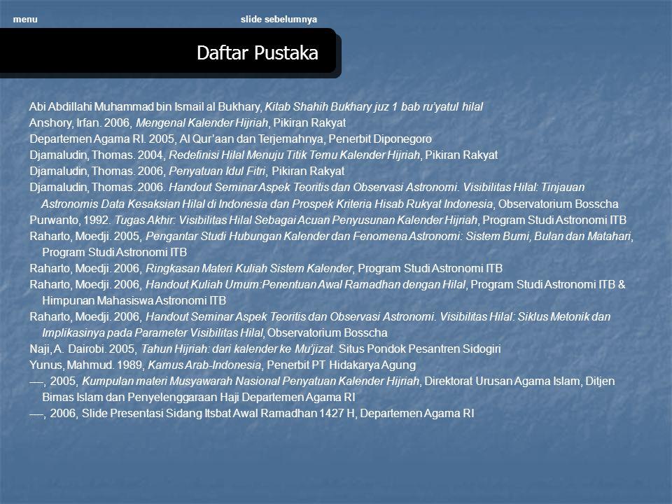 menu slide sebelumnya. Daftar Pustaka. Abi Abdillahi Muhammad bin Ismail al Bukhary, Kitab Shahih Bukhary juz 1 bab ru'yatul hilal.