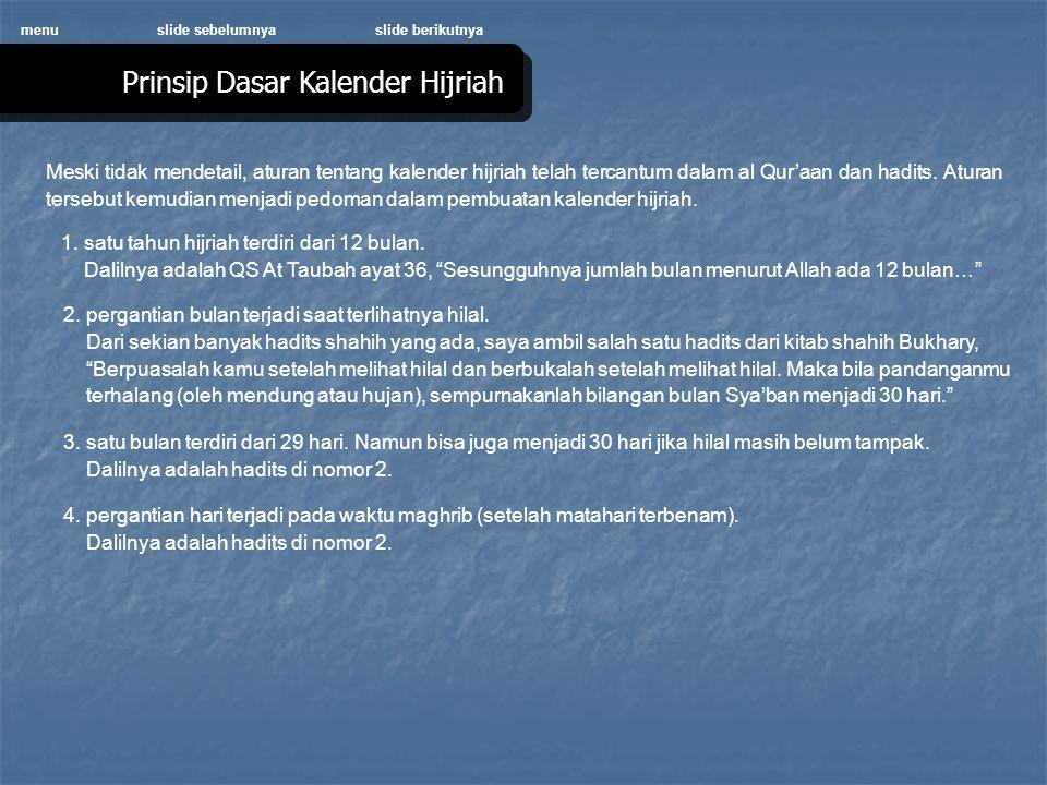 Prinsip Dasar Kalender Hijriah