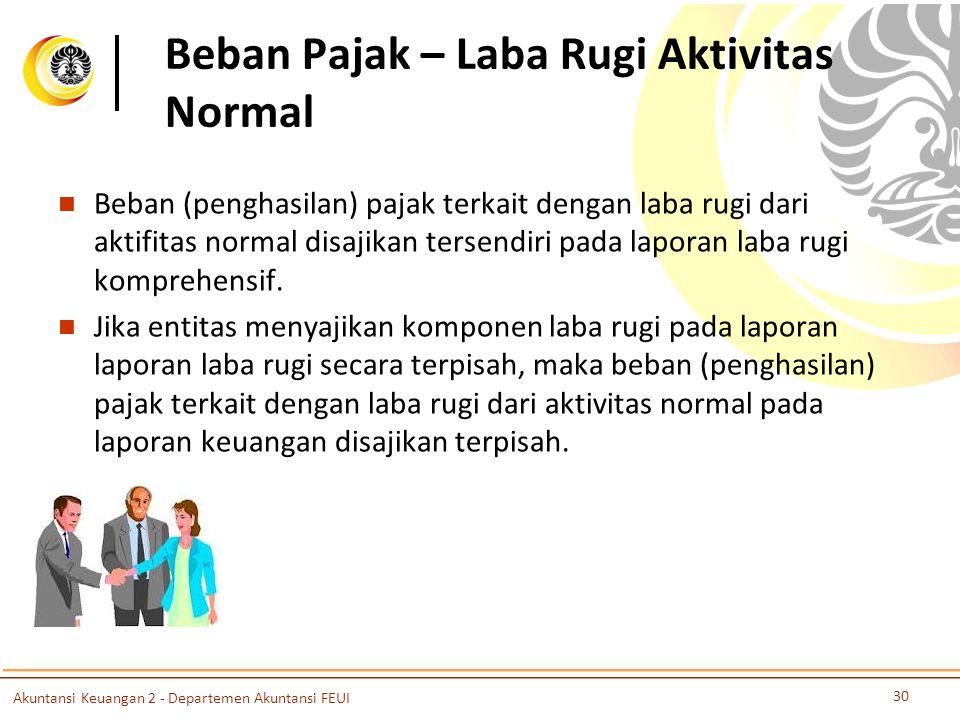 Beban Pajak – Laba Rugi Aktivitas Normal