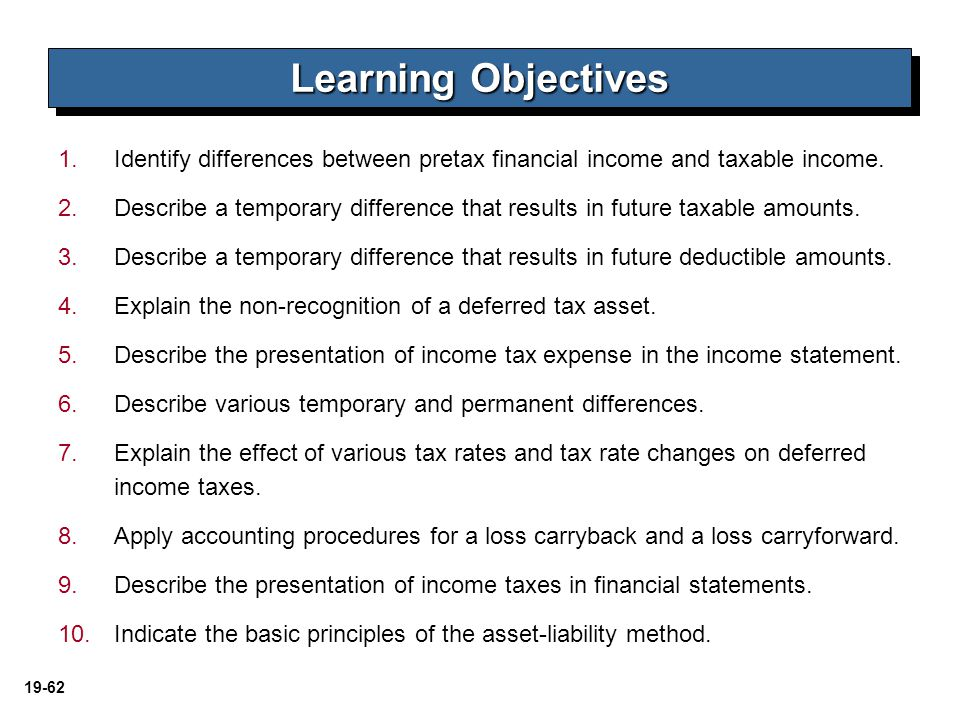 Learning Objectives Identify differences between pretax financial income and taxable income.