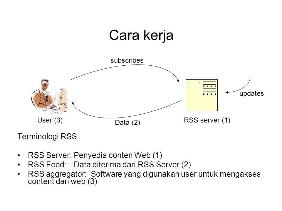 Cara kerja Terminologi RSS: RSS Server: Penyedia conten Web (1)