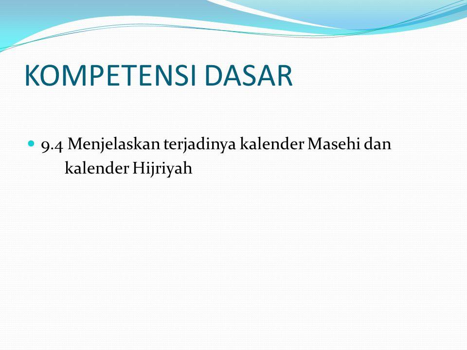 KOMPETENSI DASAR 9.4 Menjelaskan terjadinya kalender Masehi dan