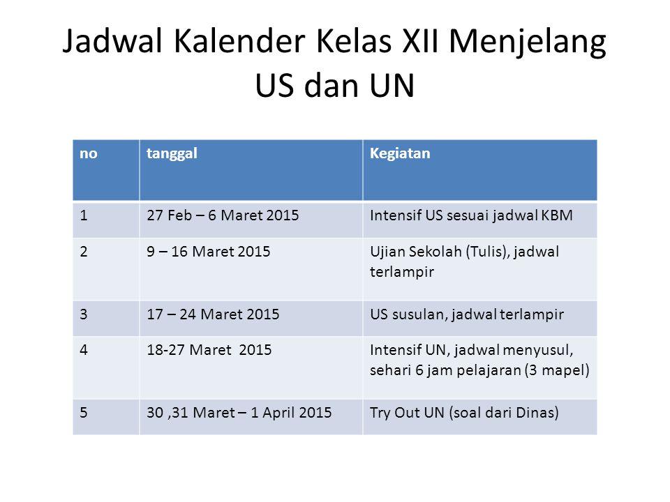 Jadwal Kalender Kelas XII Menjelang US dan UN