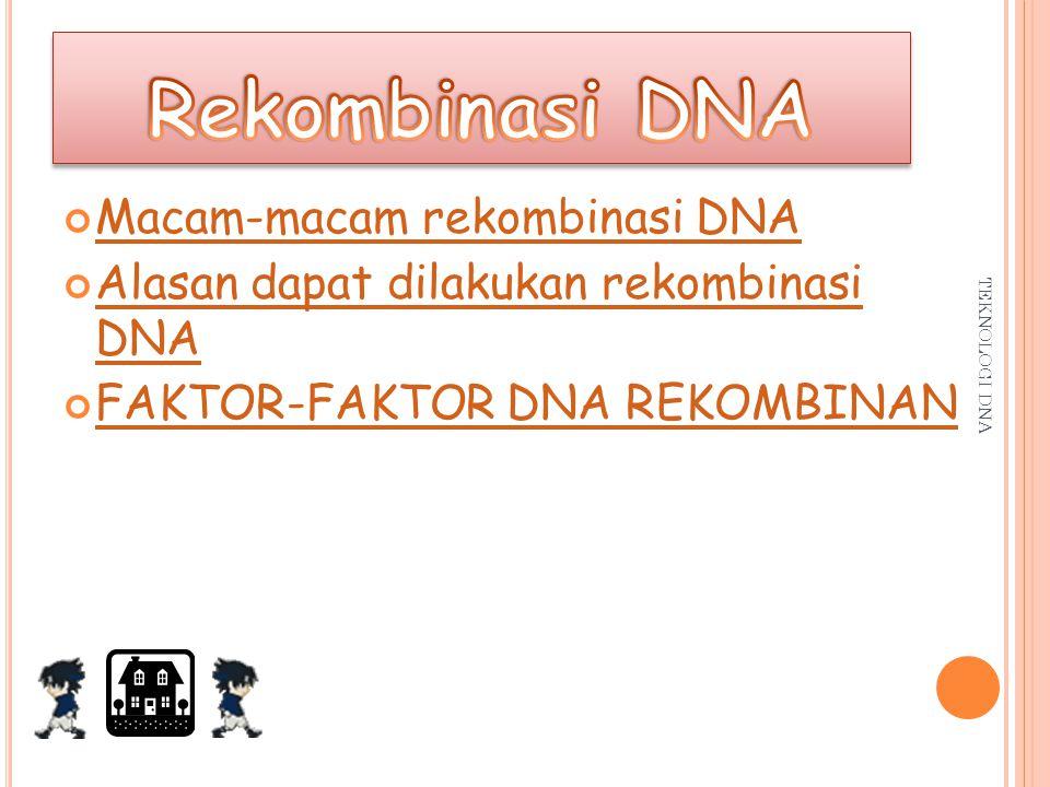 Rekombinasi DNA Macam-macam rekombinasi DNA