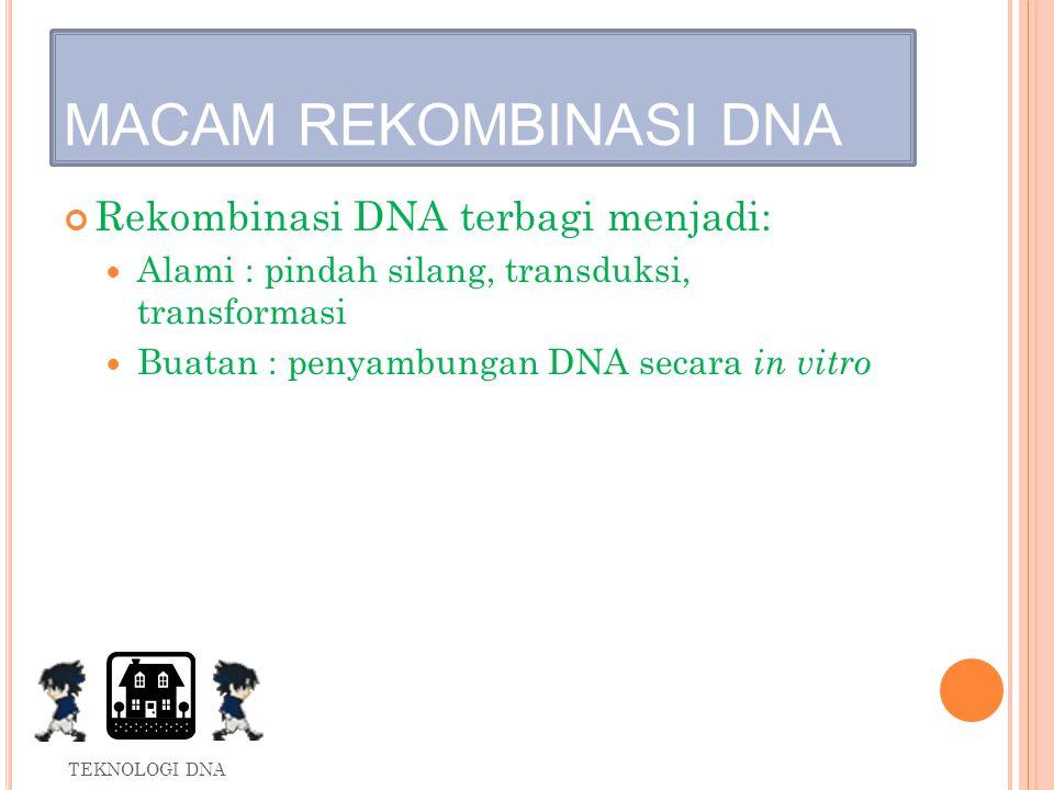 MACAM REKOMBINASI DNA Rekombinasi DNA terbagi menjadi: