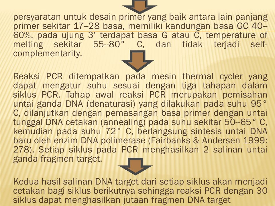 persyaratan untuk desain primer yang baik antara lain panjang primer sekitar 17--28 basa, memiliki kandungan basa GC 40--60%, pada ujung 3' terdapat basa G atau C, temperature of melting sekitar 55--80° C, dan tidak terjadi self-complementarity.