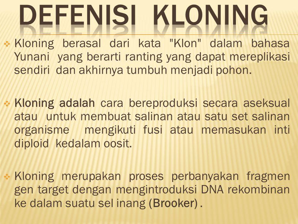 DEFENISI KLONING