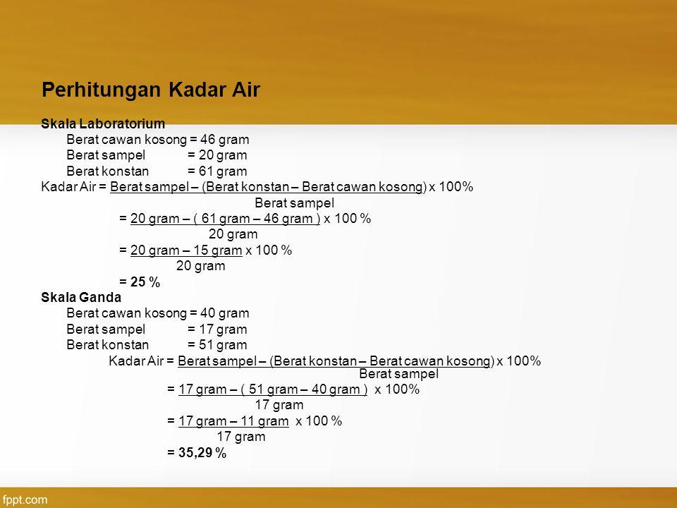 Perhitungan Kadar Air