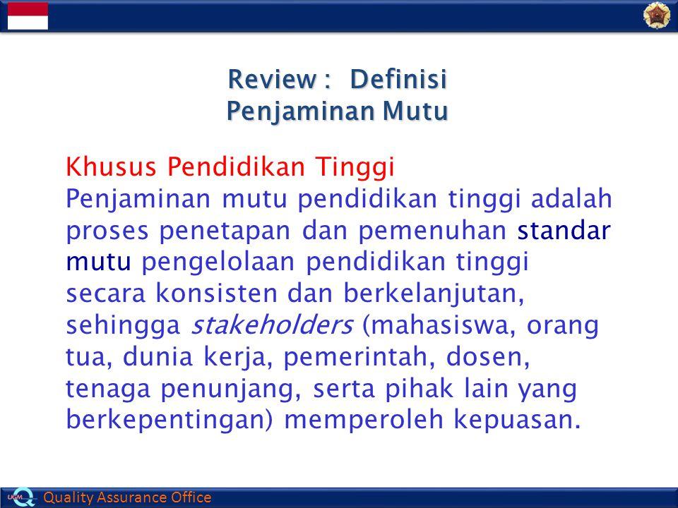 Review : Definisi Penjaminan Mutu