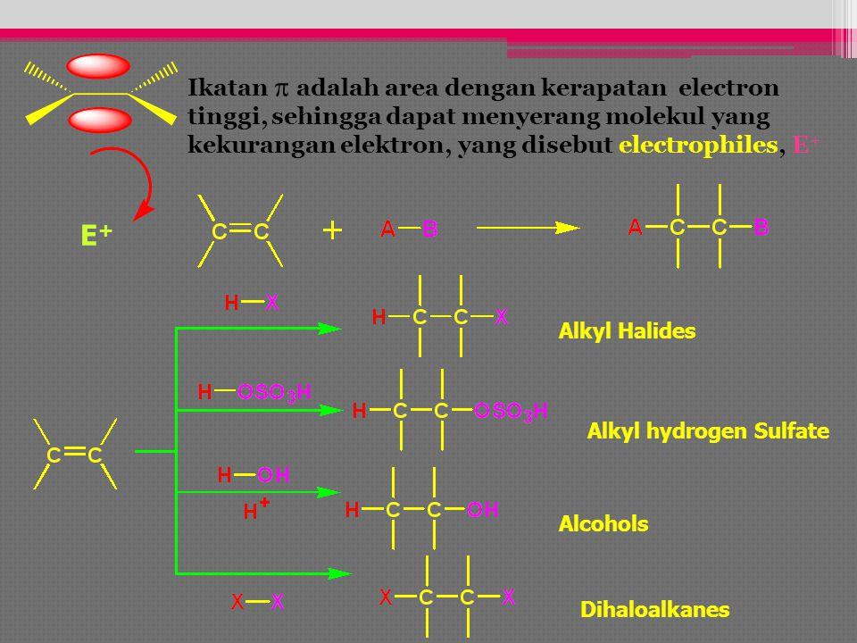 Ikatan p adalah area dengan kerapatan electron tinggi, sehingga dapat menyerang molekul yang kekurangan elektron, yang disebut electrophiles, E+
