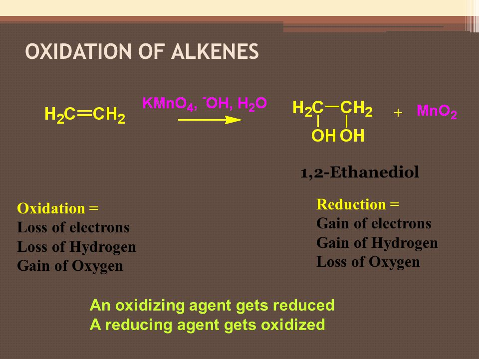Oxidation of Alkenes 1,2-Ethanediol Reduction = Oxidation =