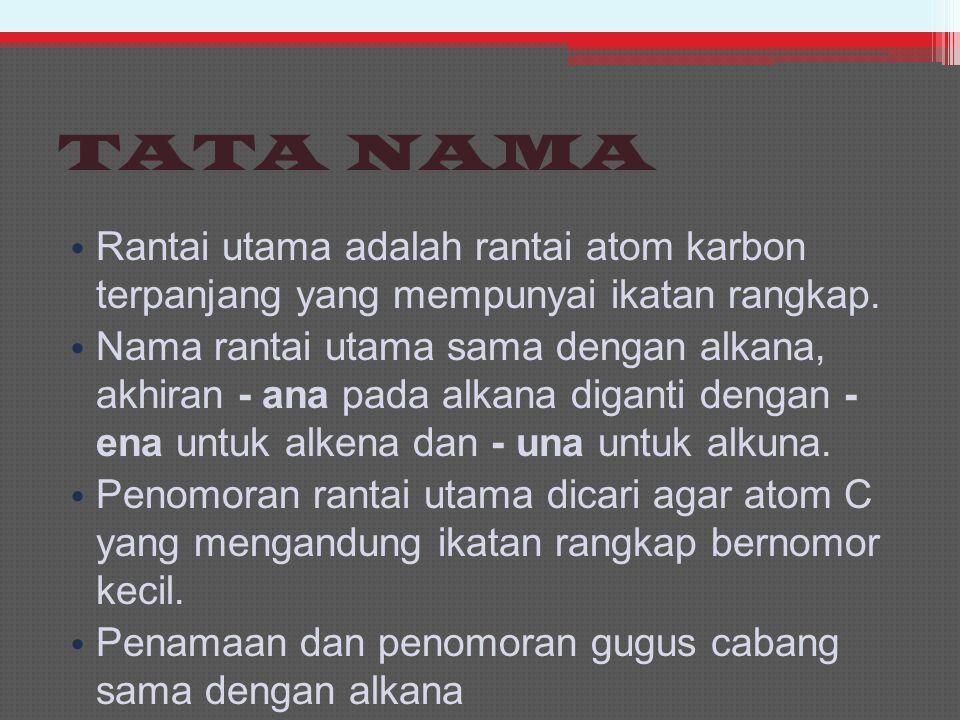 TATA NAMA Rantai utama adalah rantai atom karbon terpanjang yang mempunyai ikatan rangkap.