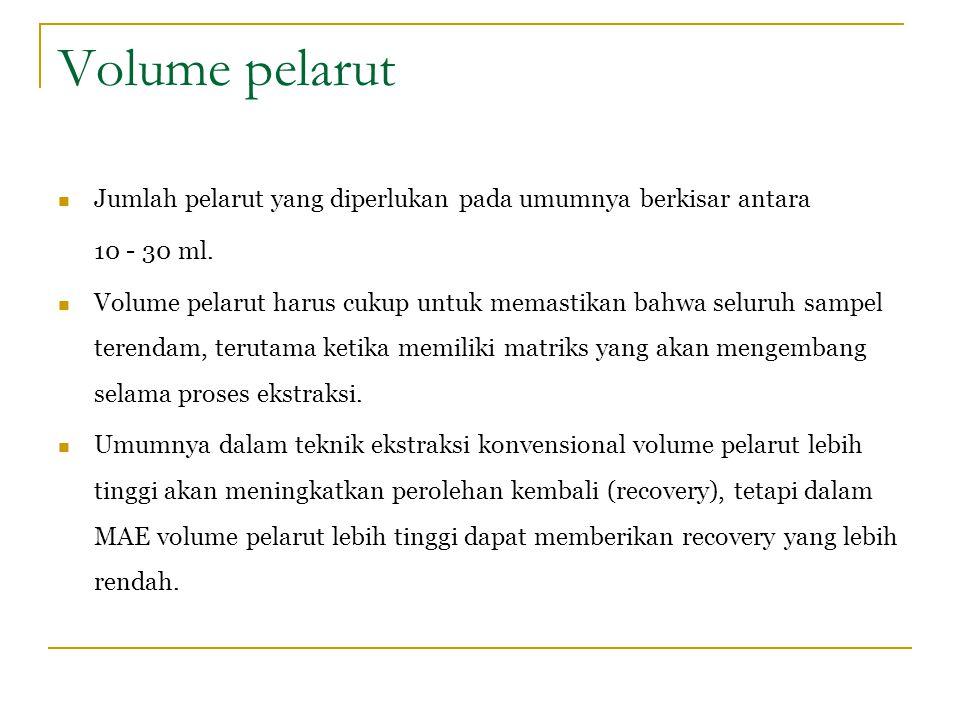 Volume pelarut Jumlah pelarut yang diperlukan pada umumnya berkisar antara. 10 - 30 ml.