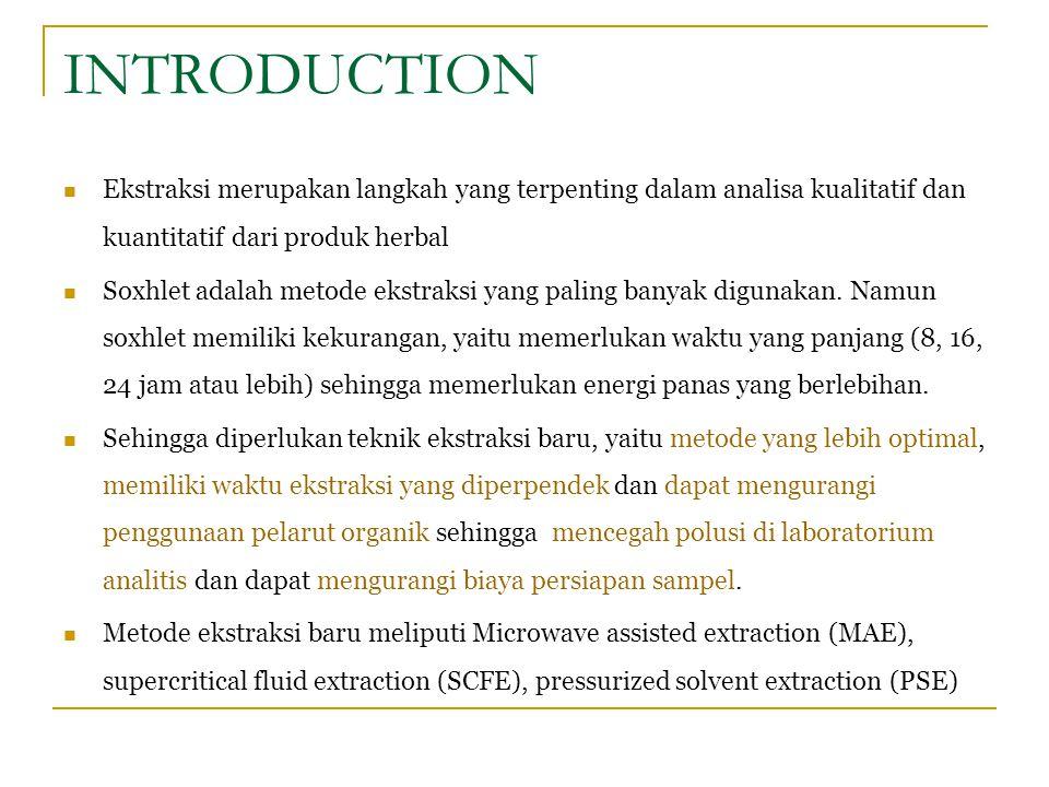 INTRODUCTION Ekstraksi merupakan langkah yang terpenting dalam analisa kualitatif dan kuantitatif dari produk herbal.