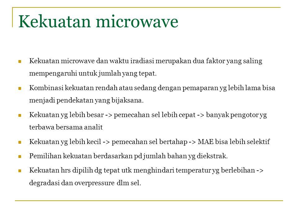 Kekuatan microwave Kekuatan microwave dan waktu iradiasi merupakan dua faktor yang saling mempengaruhi untuk jumlah yang tepat.