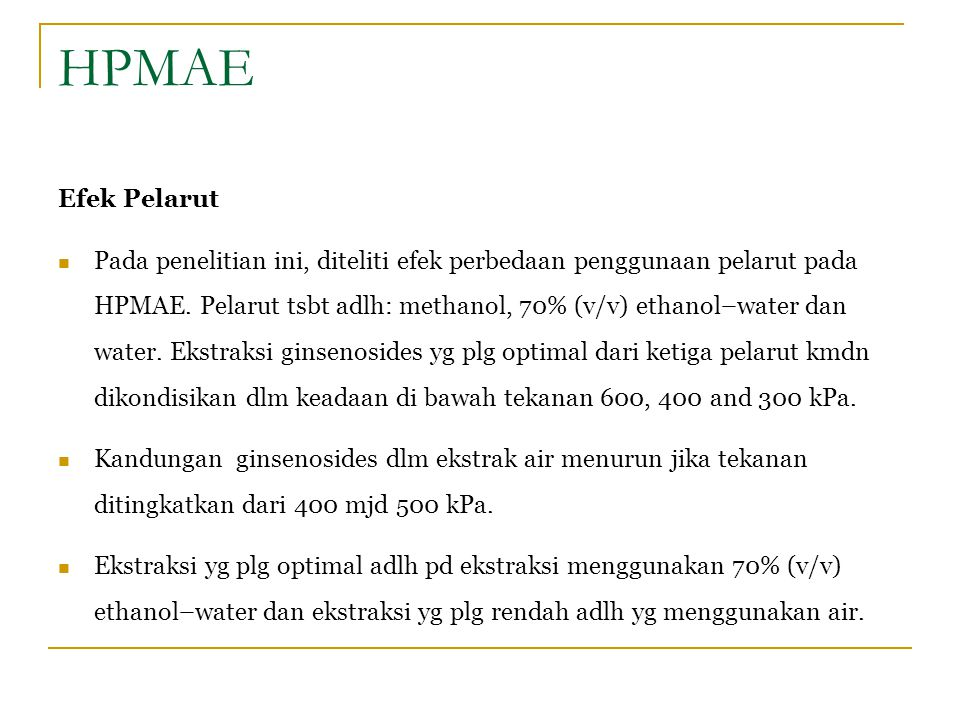 HPMAE Efek Pelarut.