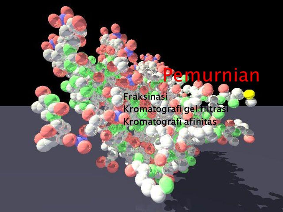 Pemurnian Fraksinasi Kromatografi gel filtrasi Kromatografi afinitas