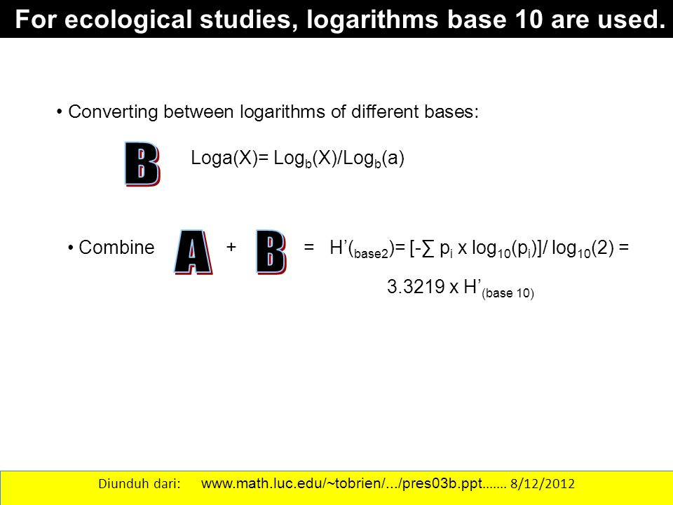 For ecological studies, logarithms base 10 are used.