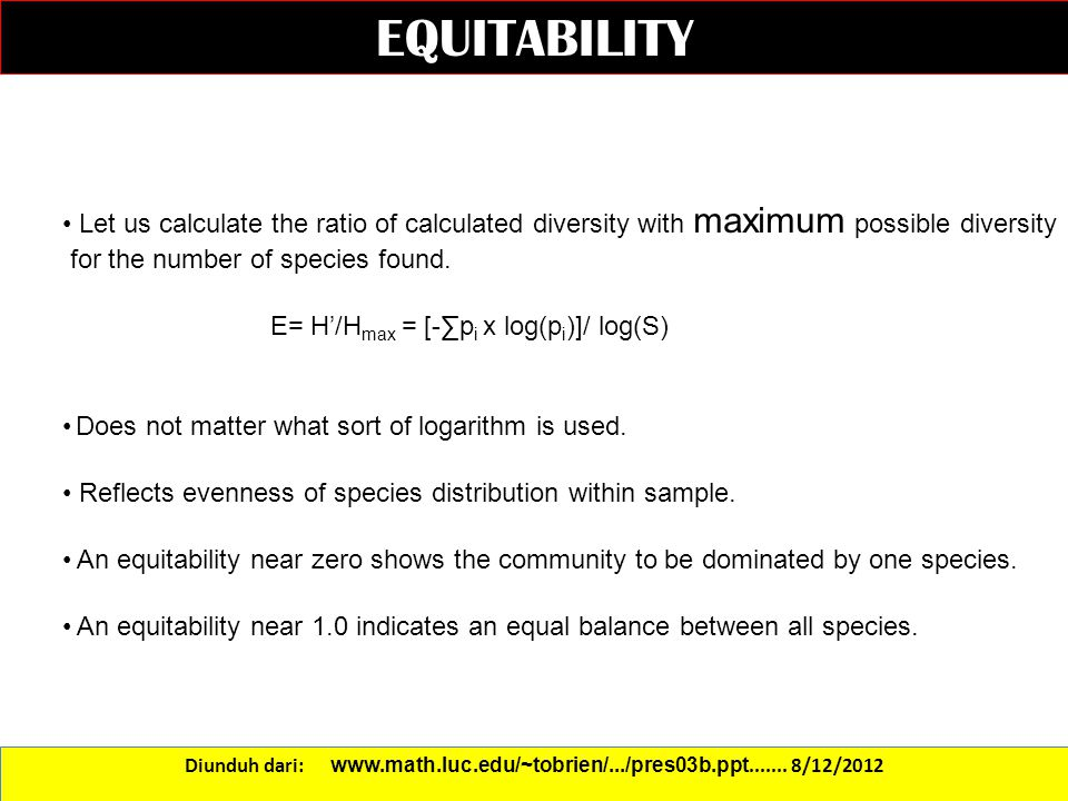 EQUITABILITY Let us calculate the ratio of calculated diversity with maximum possible diversity. for the number of species found.