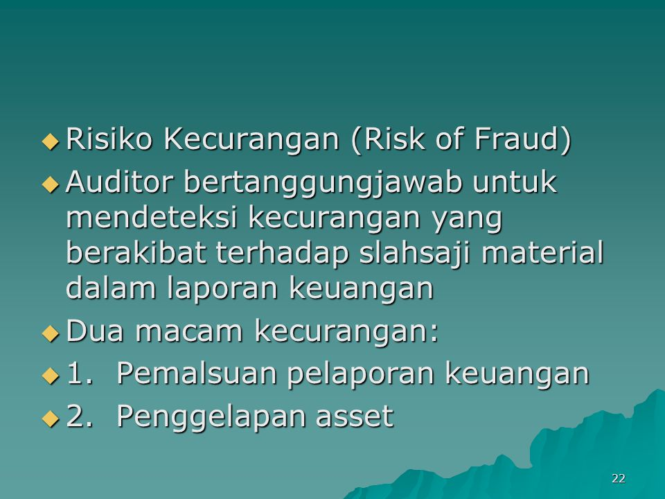 Risiko Kecurangan (Risk of Fraud)