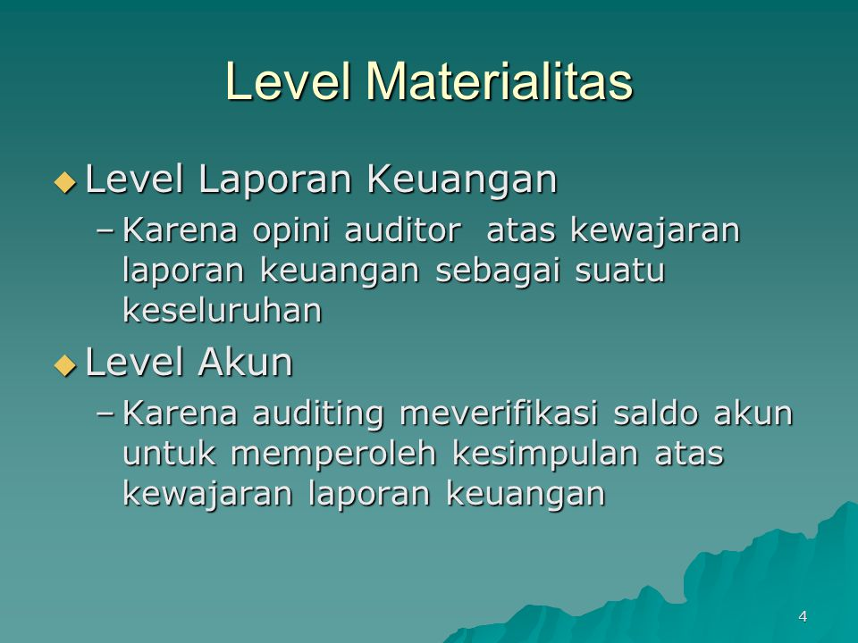 Level Materialitas Level Laporan Keuangan Level Akun