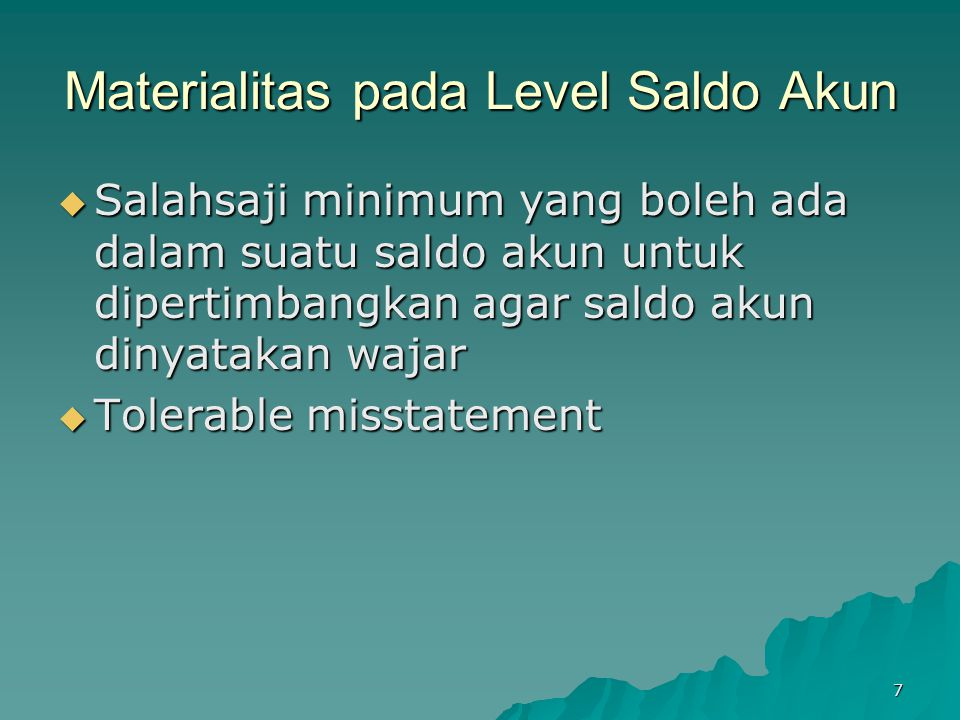 Materialitas pada Level Saldo Akun