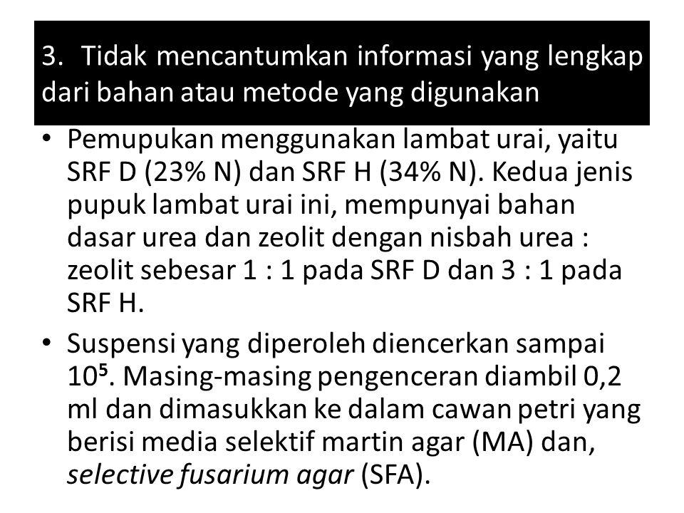 3. Tidak mencantumkan informasi yang lengkap dari bahan atau metode yang digunakan