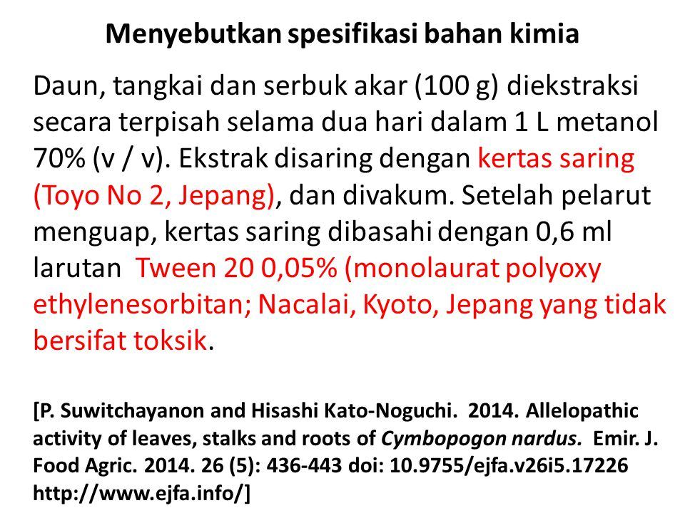 Menyebutkan spesifikasi bahan kimia