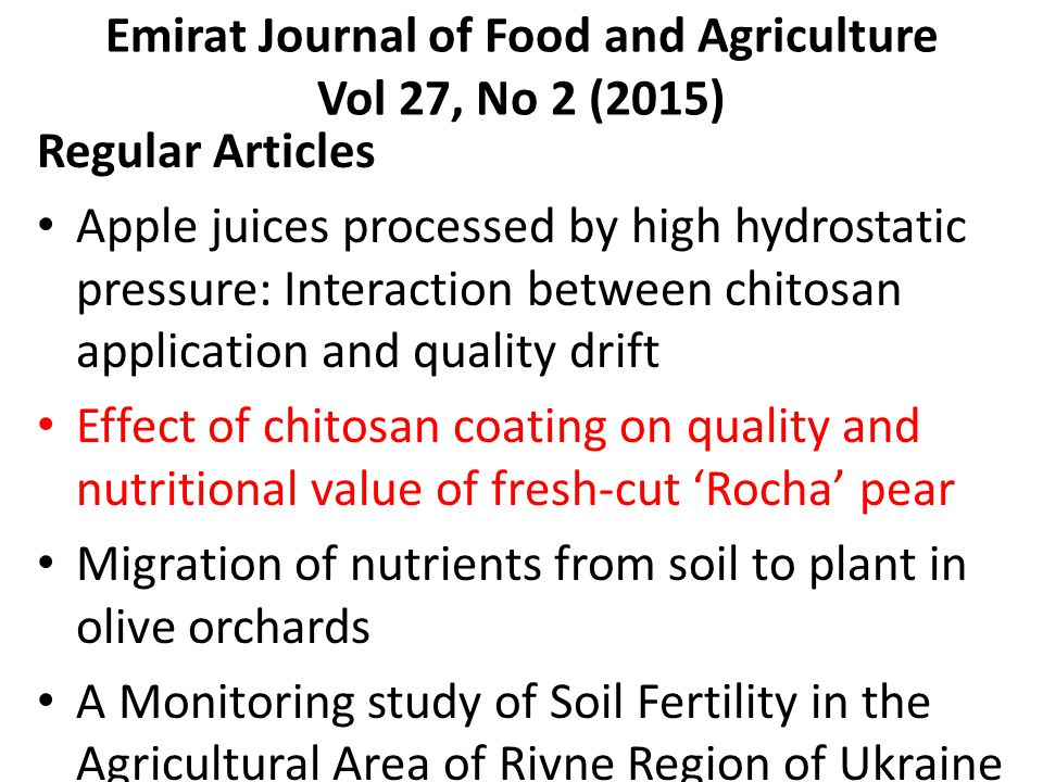 Emirat Journal of Food and Agriculture Vol 27, No 2 (2015)