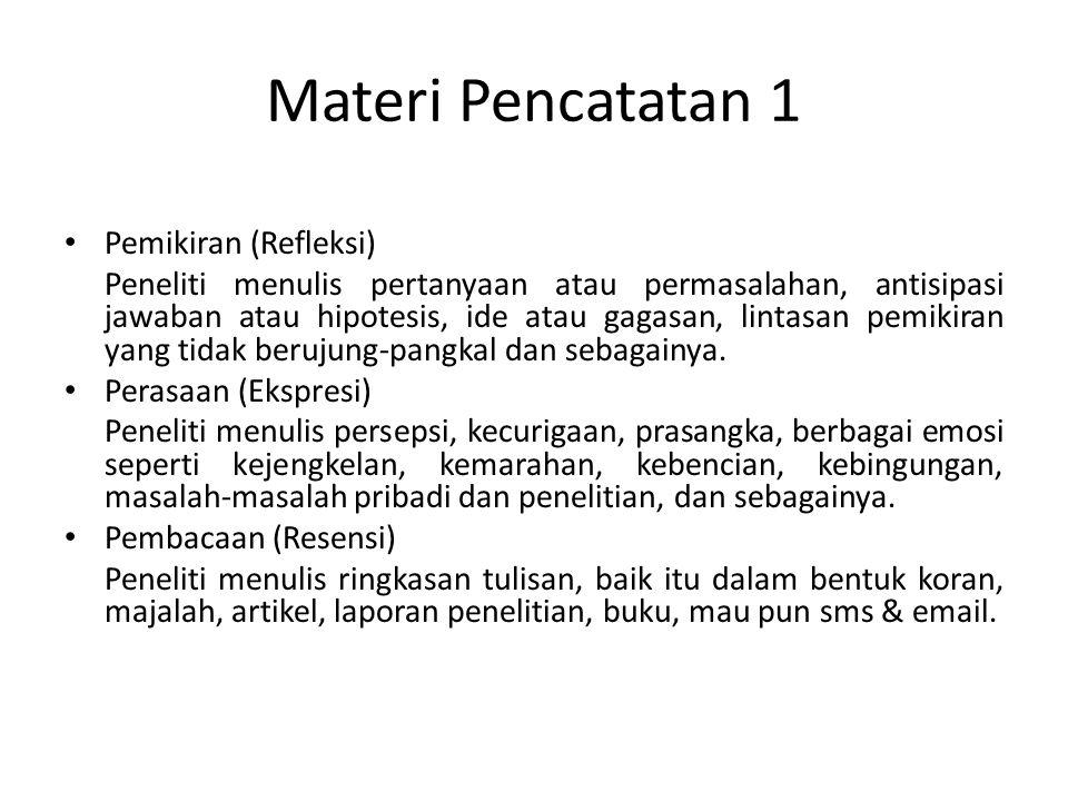 Materi Pencatatan 1 Pemikiran (Refleksi)