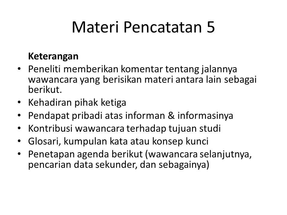 Materi Pencatatan 5 Keterangan