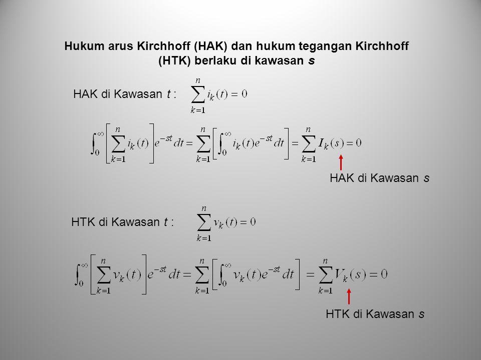 Hukum arus Kirchhoff (HAK) dan hukum tegangan Kirchhoff (HTK) berlaku di kawasan s