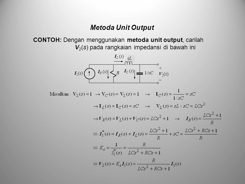 Metoda Unit Output CONTOH: Dengan menggunakan metoda unit output, carilah V2(s) pada rangkaian impedansi di bawah ini.