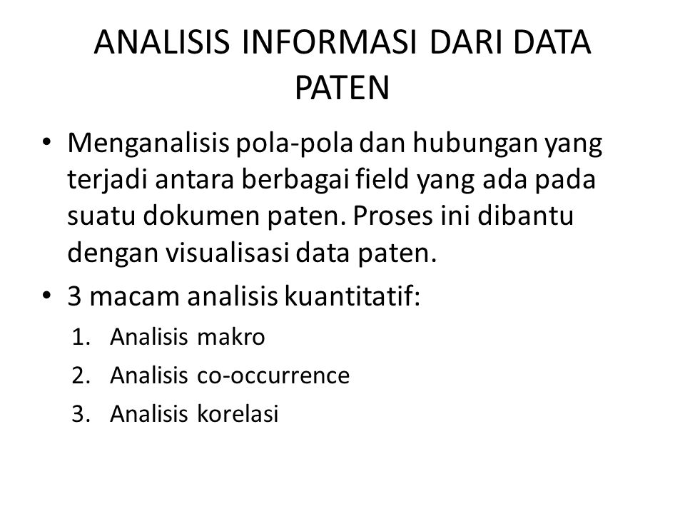 ANALISIS INFORMASI DARI DATA PATEN