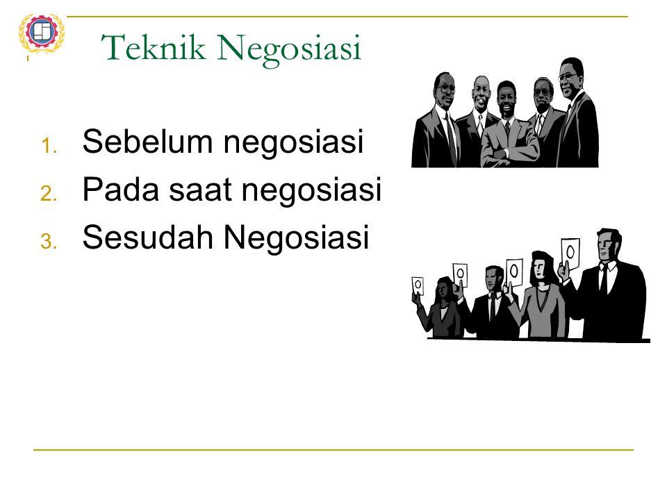 Teknik Negosiasi Sebelum negosiasi Pada saat negosiasi