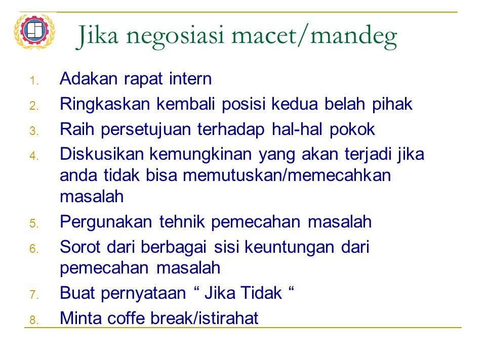 Jika negosiasi macet/mandeg