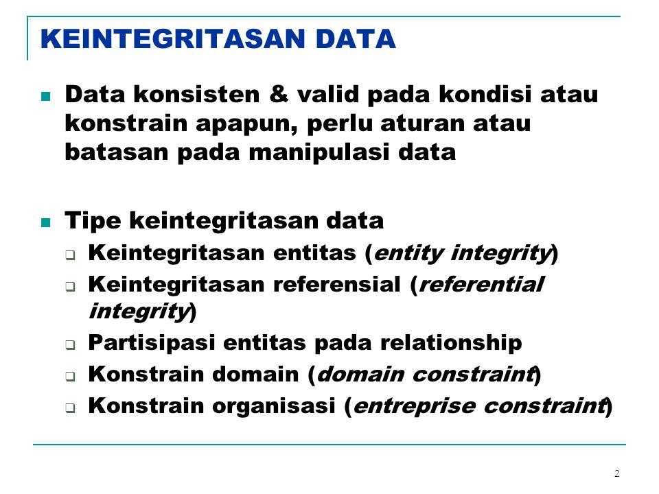 KEINTEGRITASAN DATA Data konsisten & valid pada kondisi atau konstrain apapun, perlu aturan atau batasan pada manipulasi data.