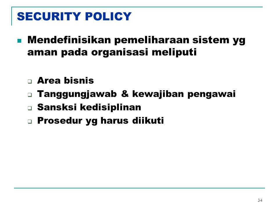 SECURITY POLICY Mendefinisikan pemeliharaan sistem yg aman pada organisasi meliputi. Area bisnis. Tanggungjawab & kewajiban pengawai.