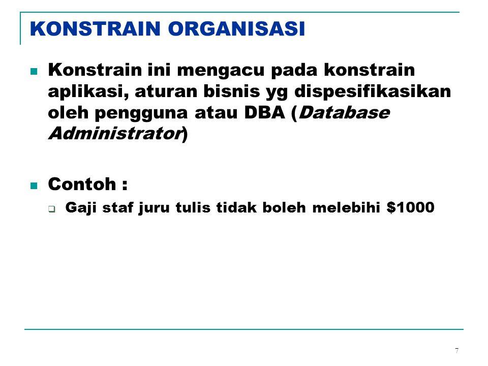 KONSTRAIN ORGANISASI Konstrain ini mengacu pada konstrain aplikasi, aturan bisnis yg dispesifikasikan oleh pengguna atau DBA (Database Administrator)