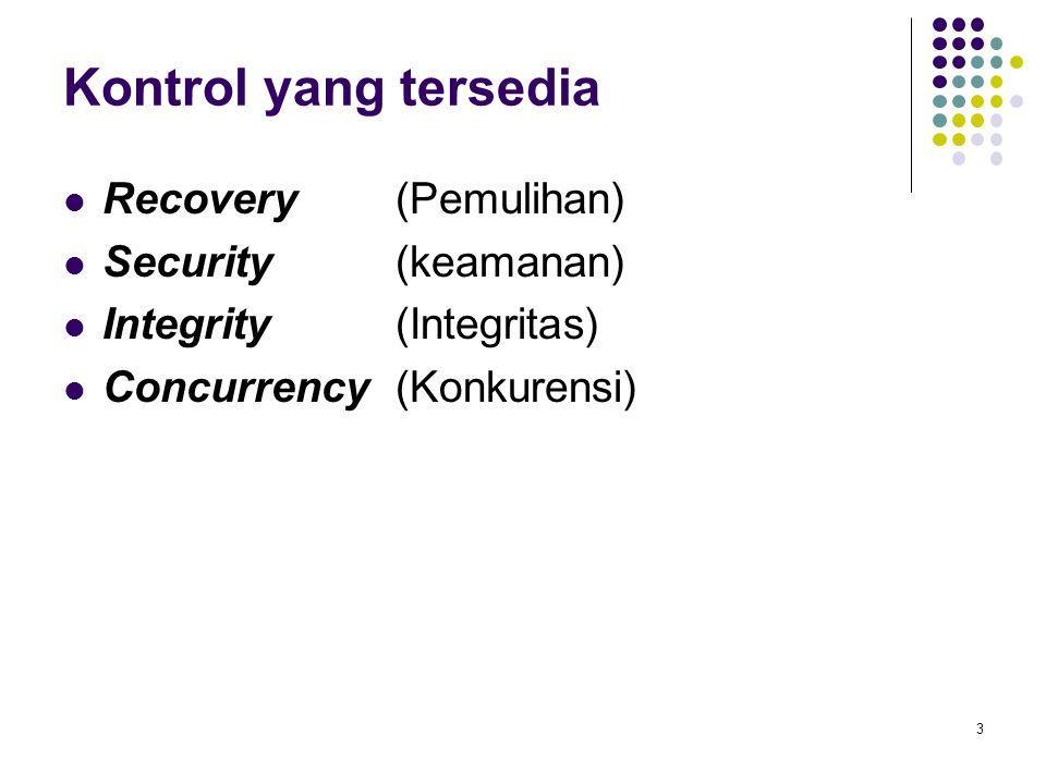 Kontrol yang tersedia Recovery (Pemulihan) Security (keamanan)