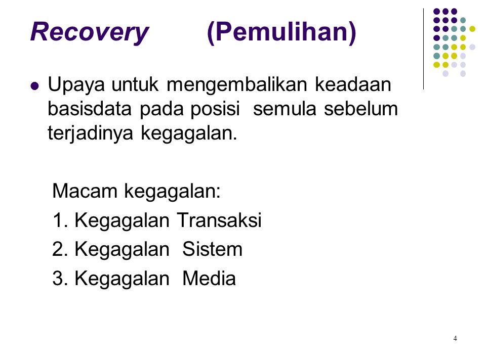 Recovery (Pemulihan) Upaya untuk mengembalikan keadaan basisdata pada posisi semula sebelum terjadinya kegagalan.