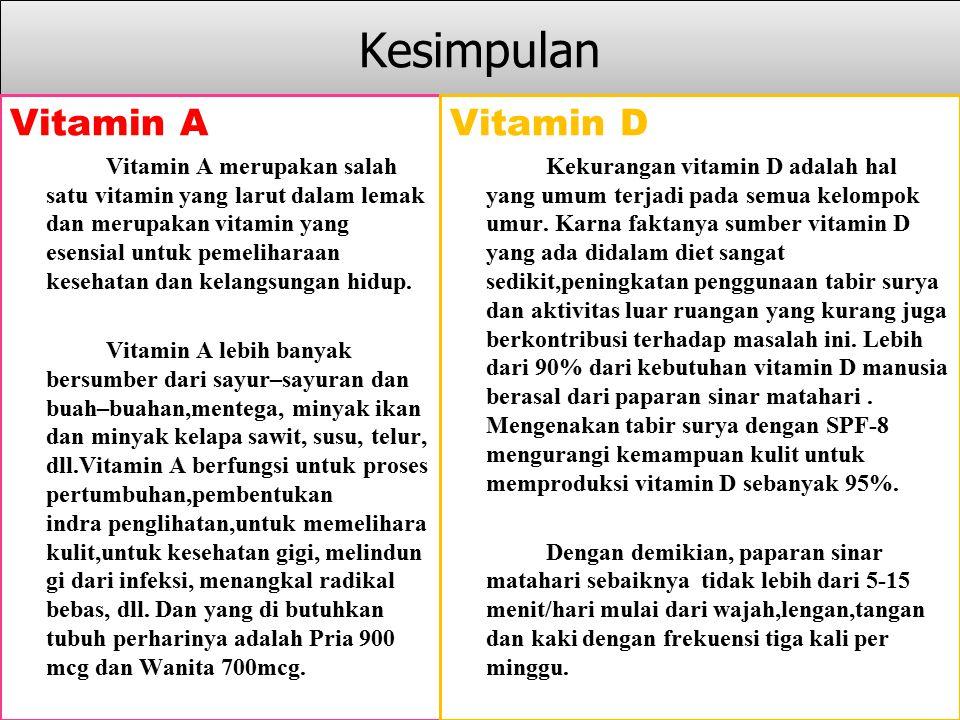 Kesimpulan Vitamin A Vitamin D