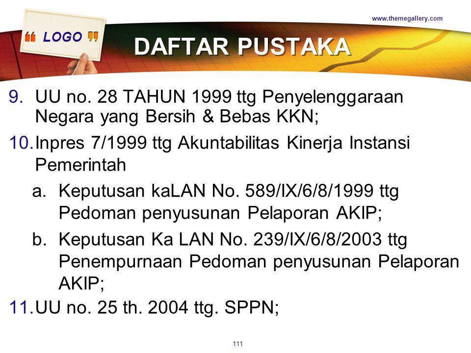 www.themegallery.com DAFTAR PUSTAKA. UU no. 28 TAHUN 1999 ttg Penyelenggaraan Negara yang Bersih & Bebas KKN;