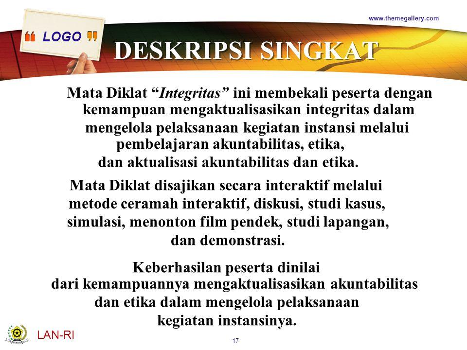 www.themegallery.com DESKRIPSI SINGKAT. Mata Diklat Integritas ini membekali peserta dengan. kemampuan mengaktualisasikan integritas dalam.