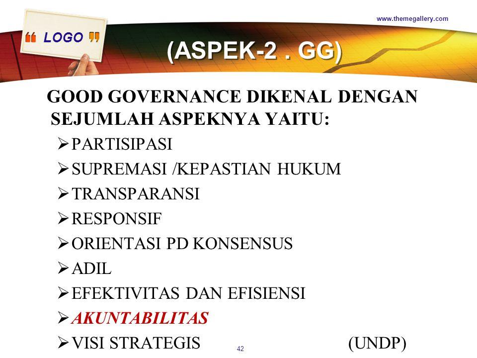 (ASPEK-2 . GG) GOOD GOVERNANCE DIKENAL DENGAN SEJUMLAH ASPEKNYA YAITU: