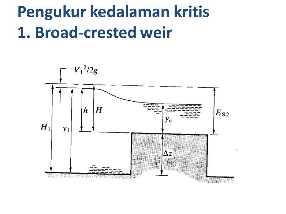 Pengukur kedalaman kritis 1. Broad-crested weir