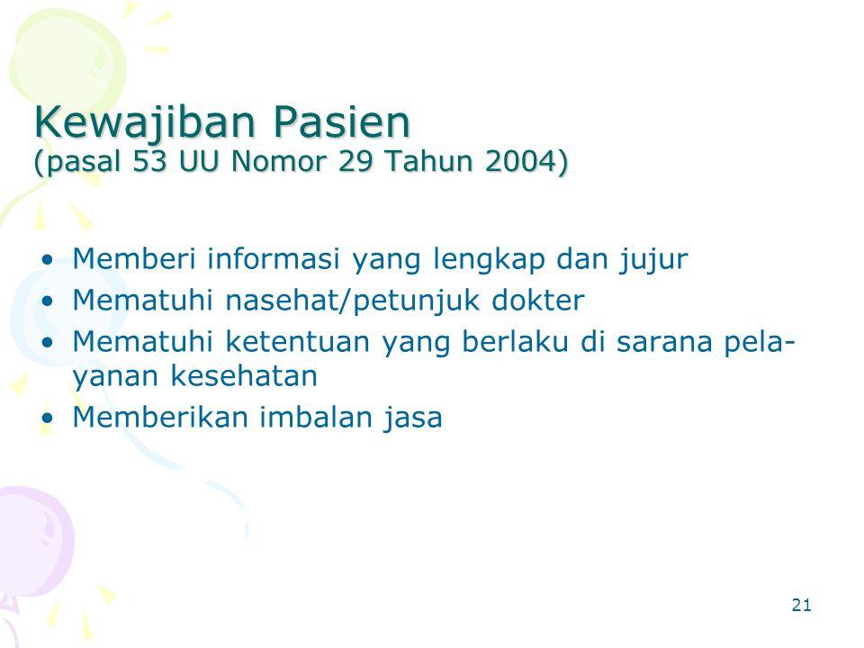Kewajiban Pasien (pasal 53 UU Nomor 29 Tahun 2004)
